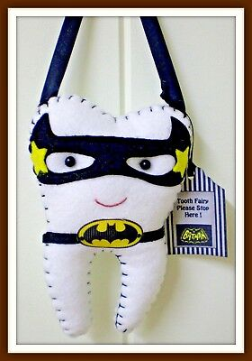 Tooth Fairy Pillow Bat-man insp includes Tooth Pendant - Pocket on back Handamde