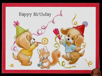 MOREHEAD Adorable Puppy Dogs Squirrel Hats RELIGIOUS Birthday Greeting Card NEW