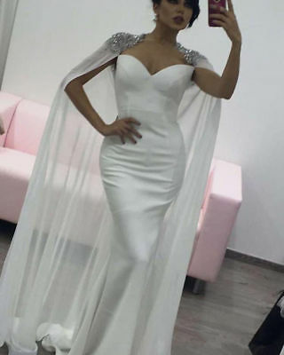 Long Arabic Mermaid Celebrity Prom Dress Beaded Formal Evening Party Gown Custom