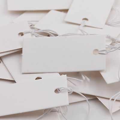 100x White Blank Paper Jewelry Label Price Tags With Elastic String 40x20mm