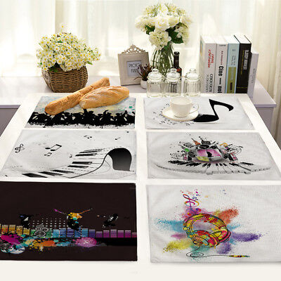 Musical musical instrument Cotton Linen Placemats Dining Table Mats Home Kitchen