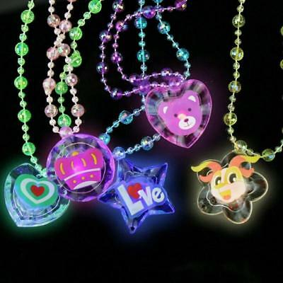 1 Cartoon Glitter Children Kids Necklace Pendant Beads Glowing Flashing Gift LED