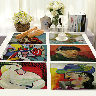 Painted Figure Paintings Cotton Linen Placemats Dining Table Mats Home Kitchen