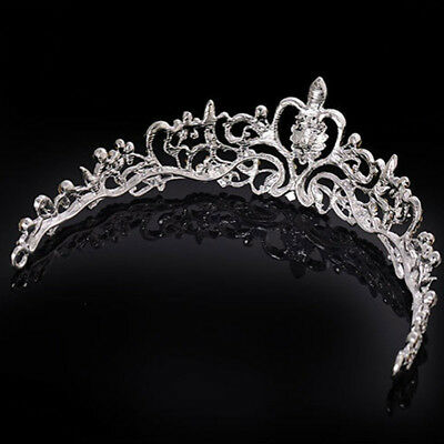 Bridal Princess Prom Hair Tiara Wedding Crown Veil Headband Austrian Crystal