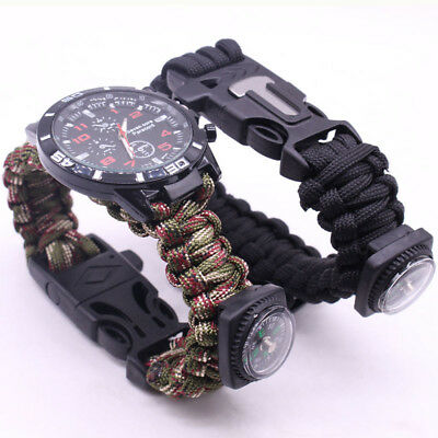 Outdoor Survival Watch Bracelet Paracord Compass Flint Fire Starter Whistle New