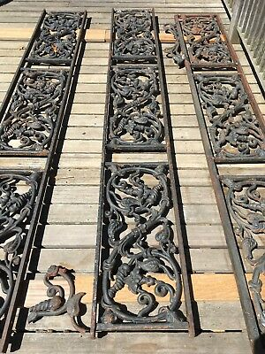 Antique Treillage, wrought iron veranda trellis, architectural feature, floral