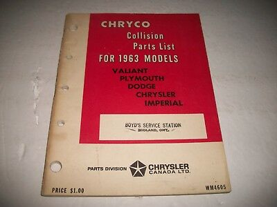 1963 Chryco Collision Parts Catalog All Valiant Plymouth Dodge Chrysler Imperial