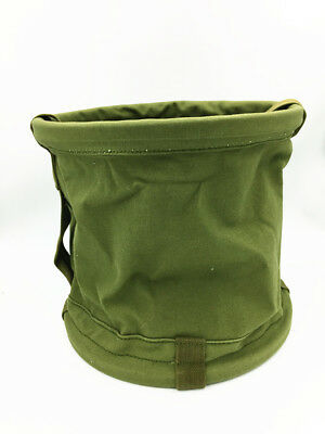 WWII Military Canvas Material Portable Carriable Water Bucket Outdoor Fishing