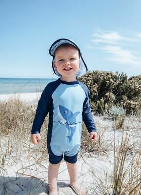 Baby Boys 1-3 Full Rash Suit with Hat Navy Blue Shark Bathers UPF50+