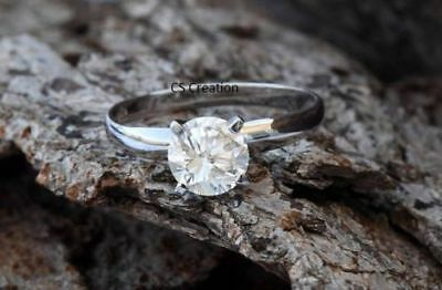Certified 2Ct White Round Cut Diamond Solitaire Engagement Ring 14K White Gold