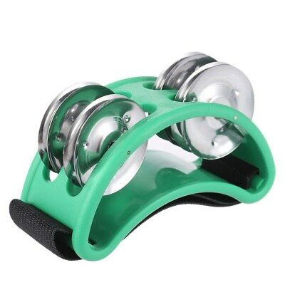 Foot Tambourine Percussion Instrument Metal Jingle Bell Musical Instrument Green