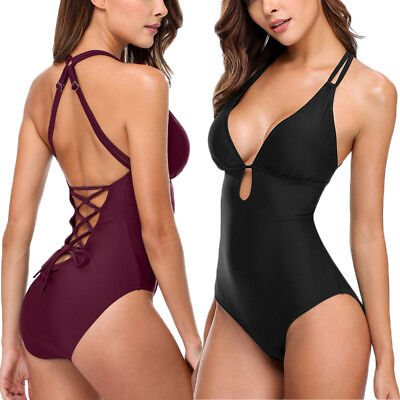 2018 Women's One Piece Swimsuit Swimwear Bathing Monokini Push Up Padded Bikini