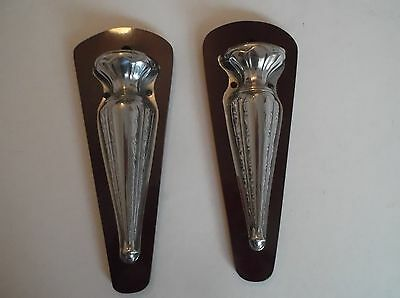 Wall Pockets Pair of Metal on a Polished Wood Base C 30's