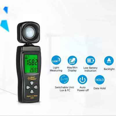 SMART SENSOR AS813 Digital Lux Light Meter 1-200000 Lux Lumenmeter Lux/FC Tester