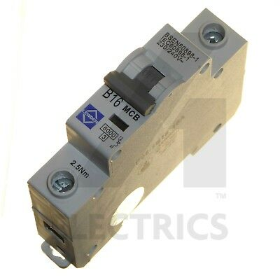 16A MCB Circuit Breaker Single Pole Type B 6kA 16 Amp 1 Phase 230V Lewden CGD