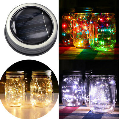 LED Fairy Light Solar Power For Mason Jar Lid Insert Color Changing Garden Decor