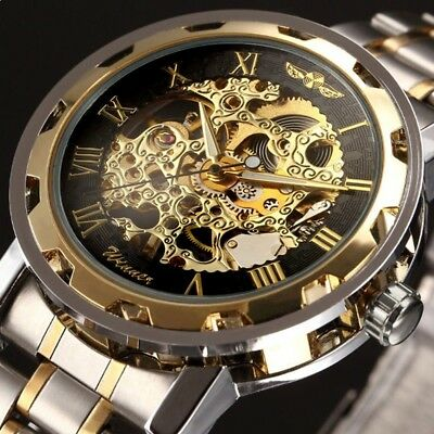 New Men's Mechanical Hand-winding Skeleton Stainless Steel Steampunk Wrist Watch