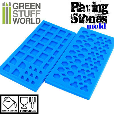Pack x2 PAVING STONES Textured SILICONE MOLD - for resins diorama impression 40k