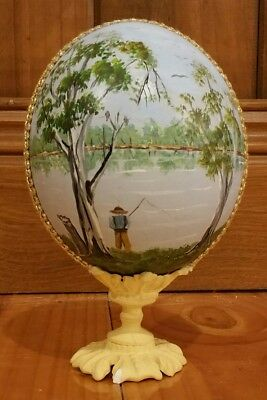 Hand Painted Emu Egg On A Stand