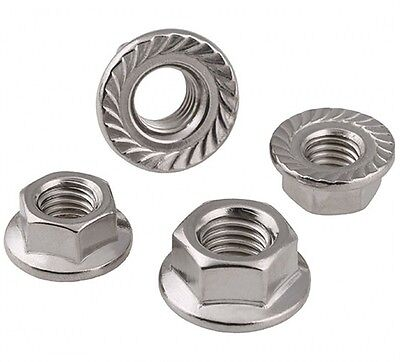 M12X1.75Mm Pitch Left Hand Serrated Flange Nuts Hex Lock Nut 304 Stainless Steel