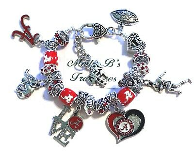 "Alabama Crimson Tide Handmade NCAA Football Charm Bracelet, 7 1/2"" Adjustable*,,"