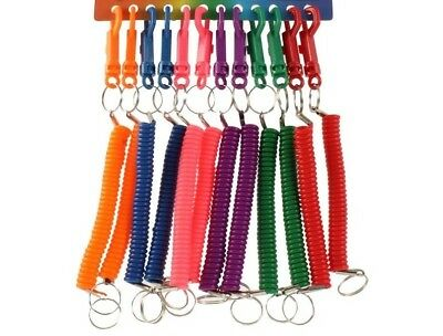 Retractable Spiral Stretchy Elastic Coil Keyring Key Chain Ring