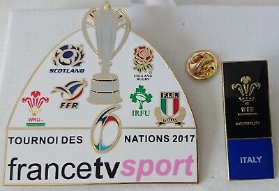 2 pin's pin rugby média TV 6 nations 2017 + Galles Italie hospitality 2018