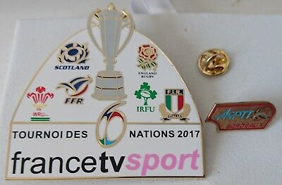 2 pin's pin rugby média TV 6 nations 2017 + ASPTT Bordeaux