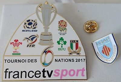 2 pin's pin rugby média TV 6 nations 2017 + USAP Perpignan