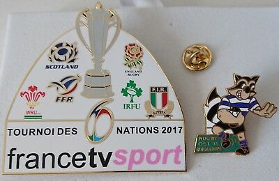 2 pin's pin rugby média TV 6 nations 2017 + CSL Guadeloupe