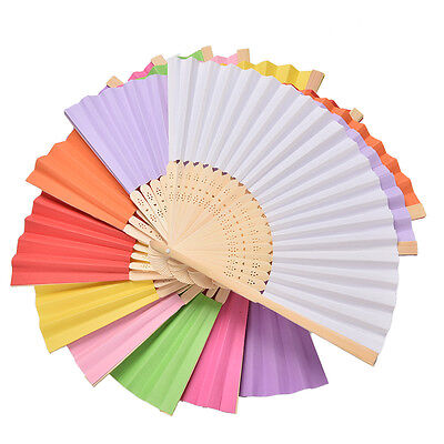 Ladies Hand Held Folding Hand Fan Bamboo Paper Party Wedding Prom Dance Eq