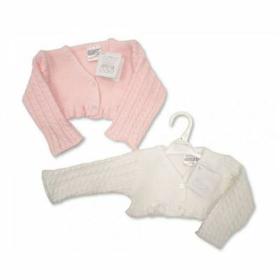Baby Cardigan Girls Christening Event Knitted Pink White