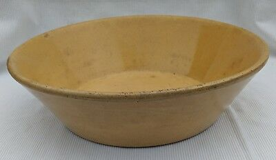 "Antique Vintage 12 1/2"" Yellowware Bowl Nappy Stamped Jeffords PA"