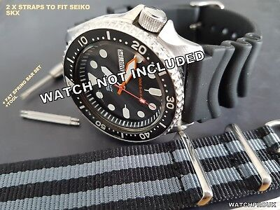 Rubber Dive Strap Band + Mod+Bars+Tool To Fit Seiko Skx007 Skx009 7S26-002