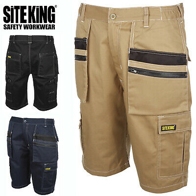 Mens Holster Pocket Elasticated Work Contrast Cargo Shorts By SITE KING - 014