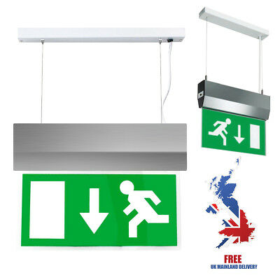 3Hr Maintained Hanging Emergency Exit Light Sign Chrome Ceiling Corridor Door