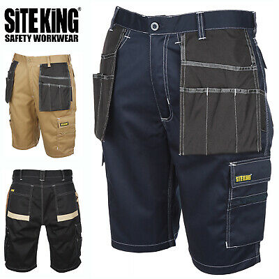 SITE KING Mens Contrast Cargo Heavy Duty Work Shorts with Holster Pockets - 015