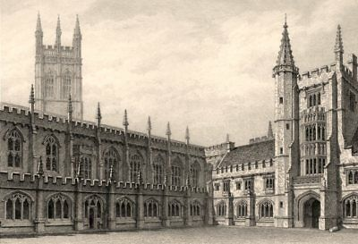 The Cloister, Magdalen College, Oxford, by John Le Keux 1837 old antique print