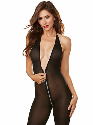 Dreamgirl avec Bodystocking Front to Back Zipper Noir Taille (10 Fits -16)