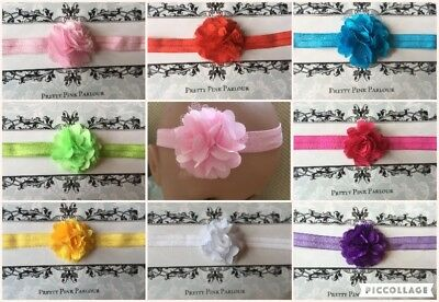UK Seller Baby Girl Lace Flower Elasticated Headband Choose Size