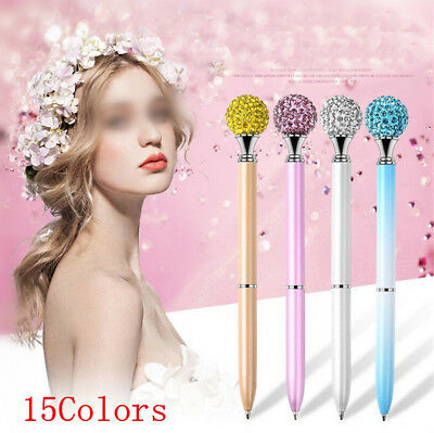 1X Metal Diamond Head Crystal Ballpoint Pen Creative Pen Stationery Gift Fashion