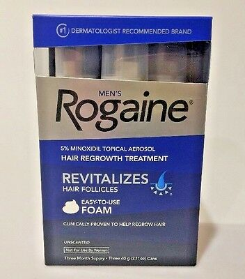 Men's Rogaine  3 Month Supply 5% Minoxidil Topical Solution Sealed  Exp 9/2019