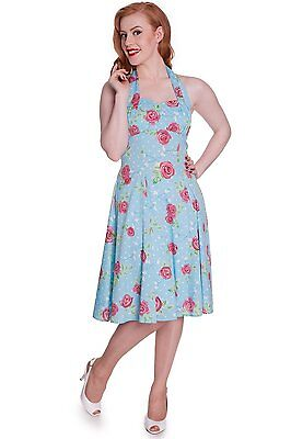 Hell Bunny Vintage Style Blue Roses Print Dress - 50's Halter Neck 1950s UK 10 S