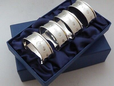 Boxed Set 4 Hallmarked Solid Silver Napkin Rings Serviette Ring