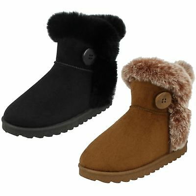 Girls Spot On Fur Trim/Lined Ankle Boots