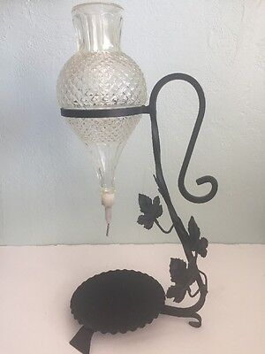 Vtg Wine Decanter Chilling Flask Pressed Glass Wrought Iron Stand 1970s Grapes