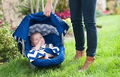 CarSeat Canopy 4 pcSet for Boy Infant Car Seat Cover Blanket Used