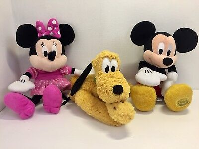 Disney Mickey Mouse Minnie And Pluto Soft Toys Bundle