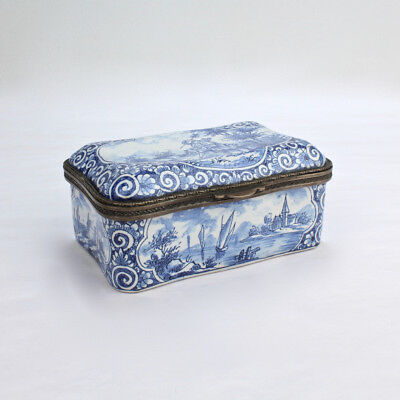 Antique Blue and White Delft Pottery Table Snuff Box or Casket - PT