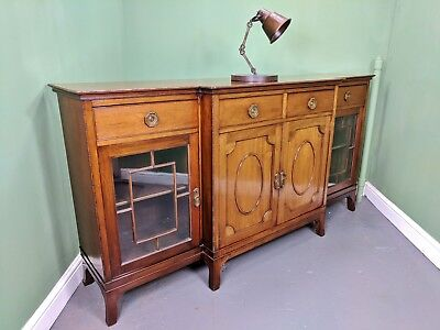 An Antique Edwardian Solid Mahogany Break Front Sideboard~Delivery Available~